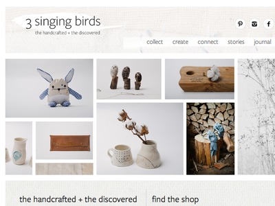 3 Singing Birds website responsive craft artisan minimal texture
