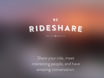 BC Rideshare carpool rideshare ride sharing minimal dark