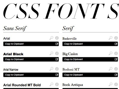 Cssfontstack minimal black white font stacks web fonts