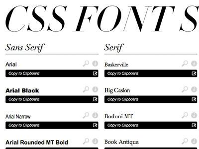 Cssfontstack minimal black white font stacks web fonts