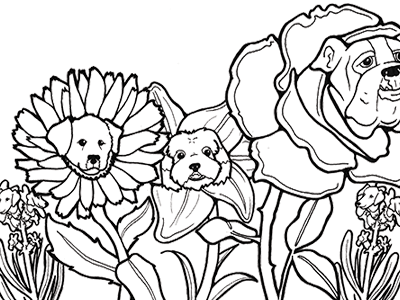 Marigolden Retrievers dogs flowers lineart