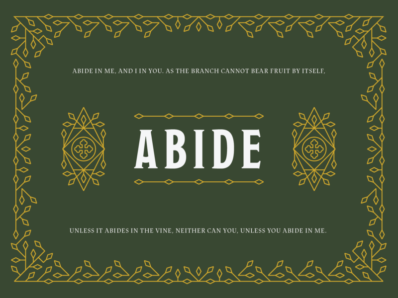 Abide line art green cross pattern branches vines gold illustration typography branding
