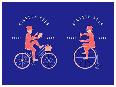 Bicycle Beer gentleman vintage logomark craftbeer craft drink bottle beer colorful bold dark penny farthing bicycle bicycles bike branding design vector illustration logo