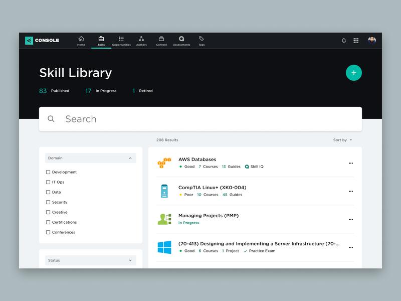 Pluralsight Console Concept filter search bar search ux product design interface dashboard web design ui design