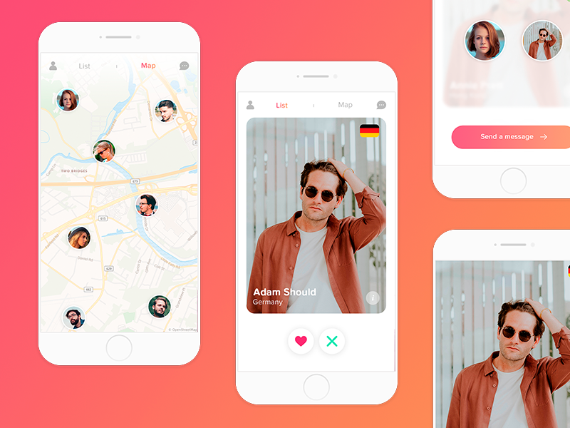 App Allofus for iOS designapp ux ui white light clean radar friends map apptinder