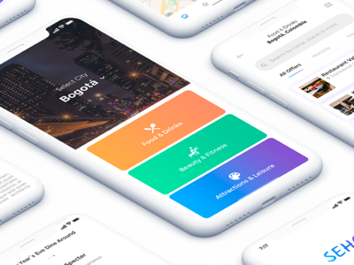 App Seho for iOS portafolio restaurant screens interface ux ui iphonex mockup
