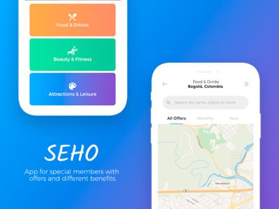 SEHO colors design ui ux categories menu map clean app