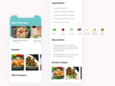 The Recipe App designui dribbble food recipe clean uidesign uiux ux ui