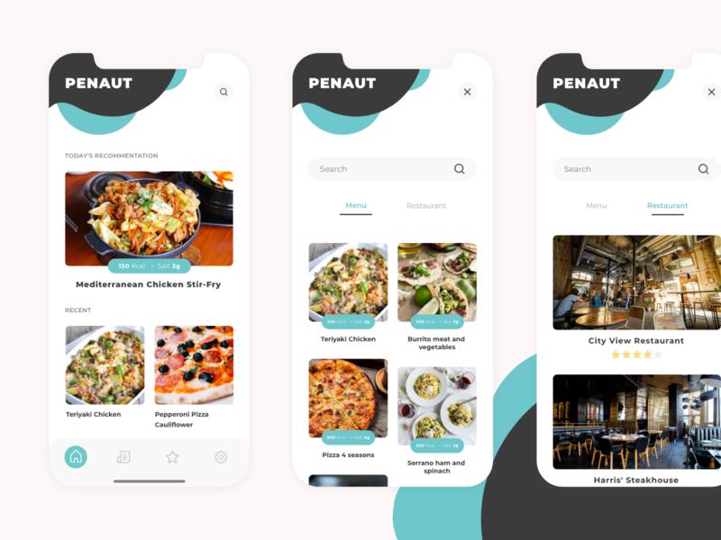 Penaut App application feed search fitness app food restaurant ui app design app ui