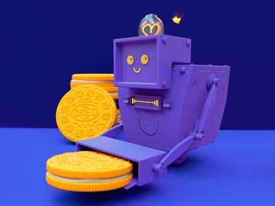 Robot Oreo  cracker cookie colors art 3d cinema4d oreo robot design