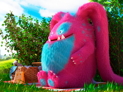 Roy art cinema4d picnic colors illustration monster vray design 3d