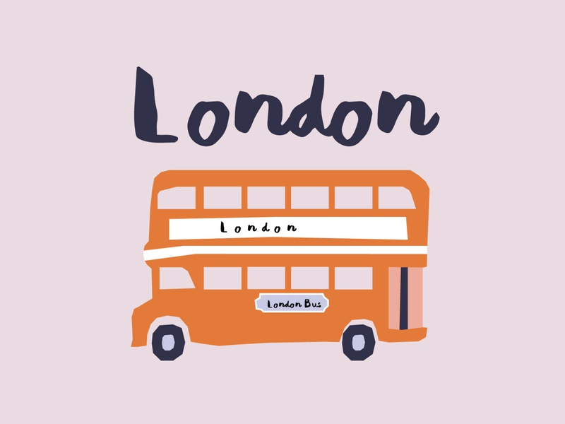 London Bus handlettering font adobeillustator vectorart vector uk illustration double decker bus london