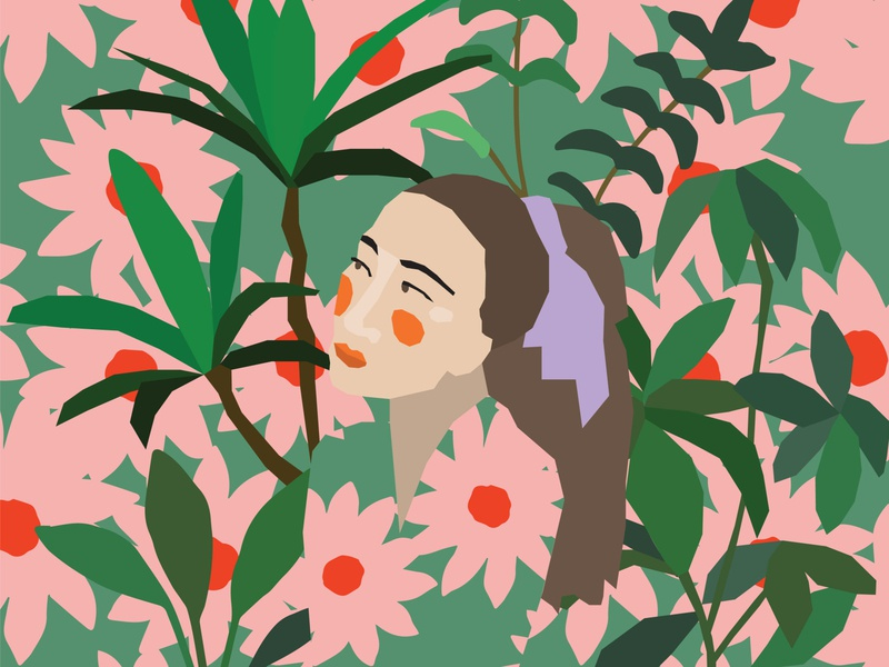 Girl in Foliage Illustration adobeillustrator vectorart vector floral flowers illustrations plants foliage bohemian girl