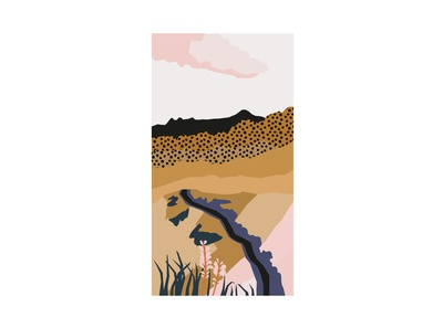 Ethiopia abstract landscape adobeillustator vectorart vector digital africa pink purple mustard ethiopia landscape illustraion
