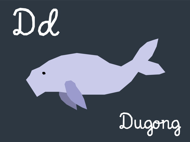 D dugong font adobeillustrator vectorart vector dugong animal illustration childrens children animal