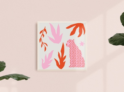 Leopard in Pink etsy bohemian jungle leopard print poster illustration