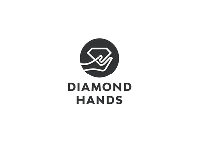 diamond hands round gem diamond hand geometric vector logo