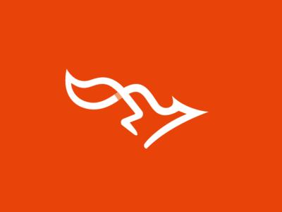 Running Fox logo vector line fox run