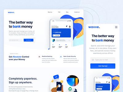 Wavvemoney - Landing Page digital banking landing page illustration design