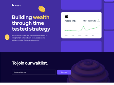 Maansa Investment - PreLaunch Landing Page investing stock fintech nigeria landing page