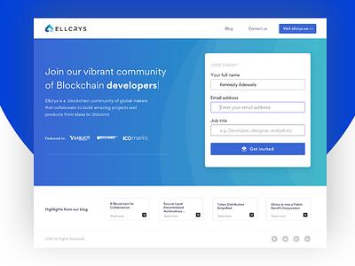 Ellcrys Developers blockchain nigeria landing page developers