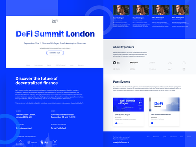 London DeFi Summit event cryptocurrency finance logo landing page blockchain