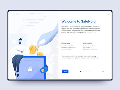 SafeHold - Desktop App miner wallet design desktop illustration blockchain