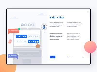 Safety Tips - Onboarding UX onboarding cryptocurrency blockchian desktop design illustration