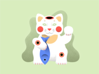 Lucky Cat Caught a Fish