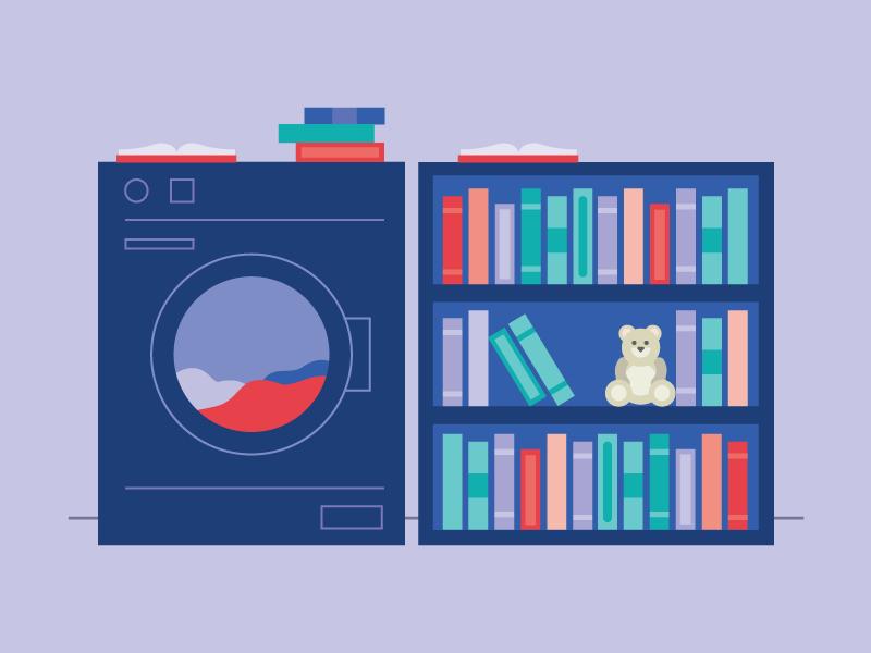 Laundromat Library librarians new york laundry teddybear books line art vector graphic design 2d illustration