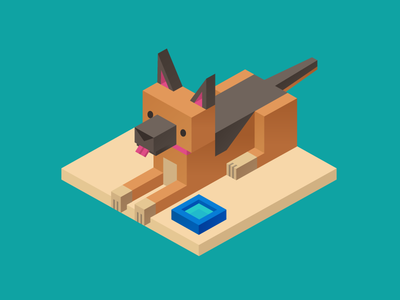 Luna vector debut isometric german shepherd pet puppy dog
