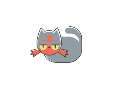Litten sun litten pokemon cat moon fire illustration