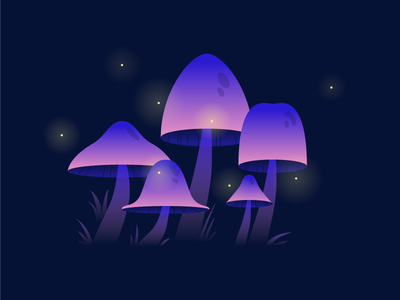 Mushrooms fireflies pink purple illustration fungus gradient