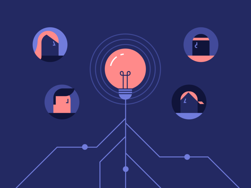 Knowledge Illustration udacity connections people light bulb minimalistic illustration