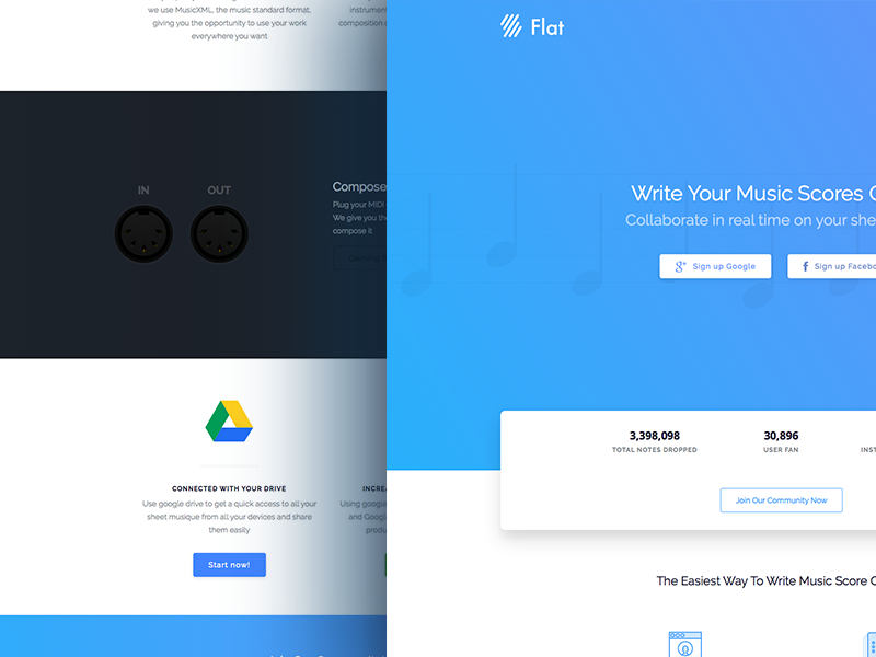 Flat.io Materials Landing design website modern landing page music home page google material design materials ux ui
