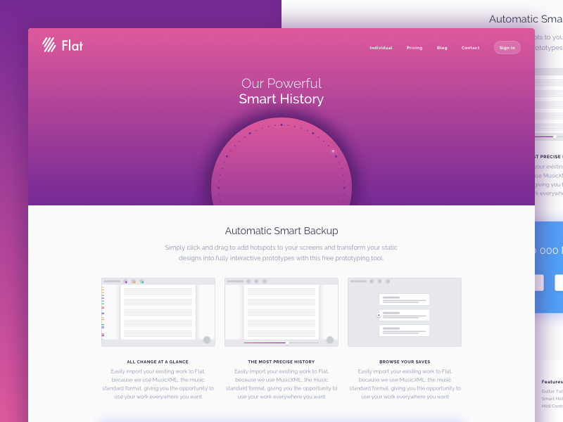 Smart History Landing Page flat ui music modern materials material landing page home google design