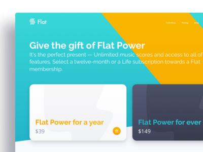 Gift Card landing page material design web ux ui card gift flat