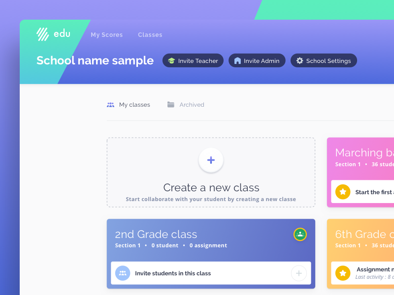 Flat For Education Dashboard card ux ui design web education edu flat