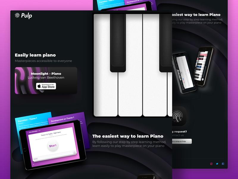 Pulp Piano  🎹 Landing Page black piano landing  page landing page materials app iphone card ios web design ux ui music landing
