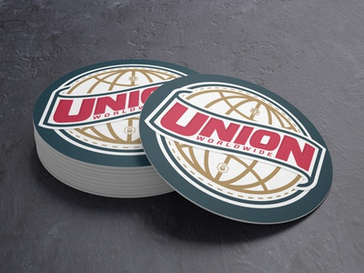 Union Worldwide Coasters globe branding badge type logo