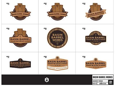 Basin Barrel Works Logos logo vector wood barrel