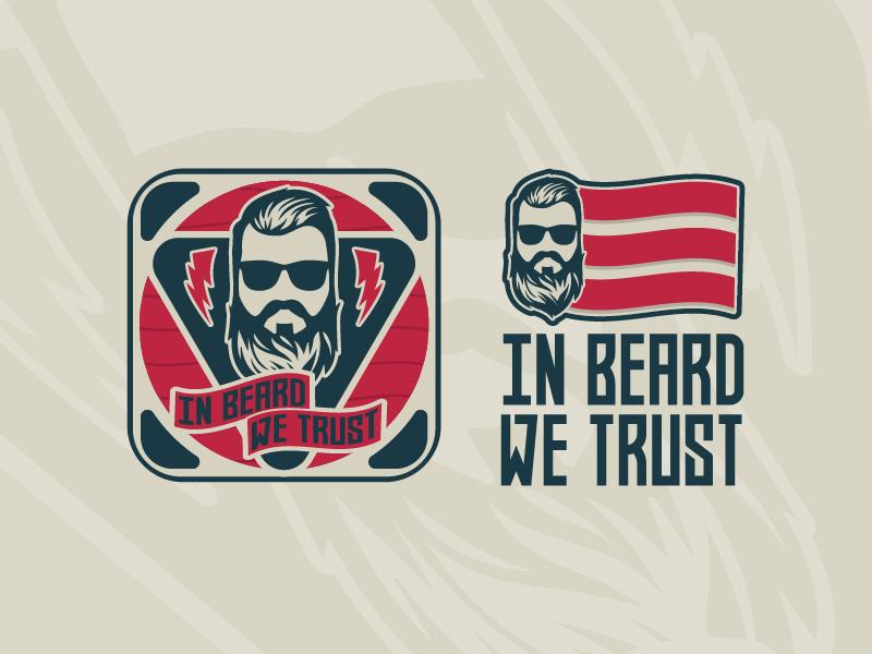 In Beard We Trust flag badge type typography beard vector