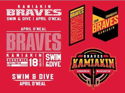 Kamiakin Braves Swim Team design branding badge typography logo type vector
