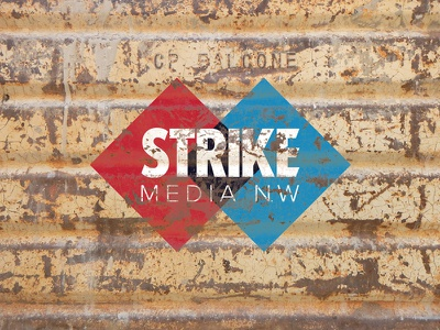 Strike Media Logo badge illustration type logo design logo