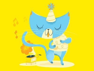 Dancing Cat party music notes grammaphone storybook illustration cat dancing