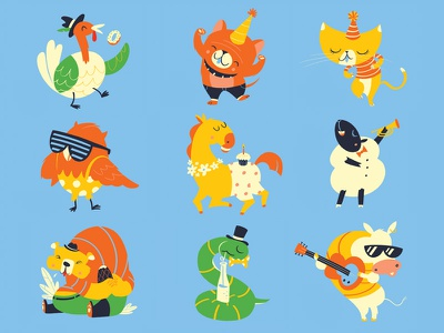 Party Animals music pun illustration characters animals party