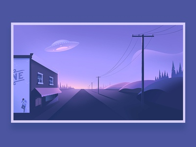 One Horse Town town north flying saucer alien peninsula canada sunset illustration