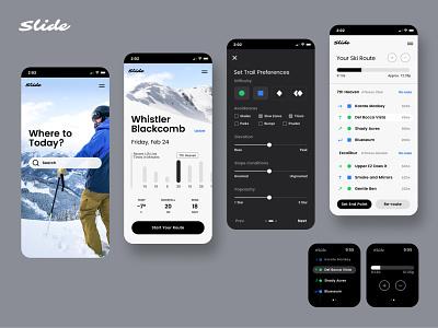 Slide Ski and Snowboard App app design guide watch slide mountains routes trails app snowboarding skiing snowboard ski