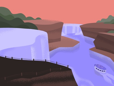 Niagara Falls sunset horseshoe mist new york ontario united states canada illustration falls niagara