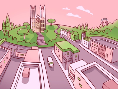 My Town colour design streets trees guelph canada church city town sunset illustration